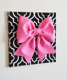 Large Pink Bow on Gray and White Chevron