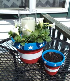 Centerpiece...Terracotta Pots, paint, candle or solar light and glass chimney globe ~ Red White Blue, Patriotic, Americana, Garden, DIY, Nailed It
