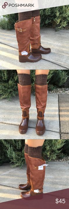 DRESSED UP RAIN BOOTS NWB. Super Cute rain boots with a woven Upper, buckles at the top and around the ankle. Buckles still covered. boutique Shoes Winter & Rain Boots