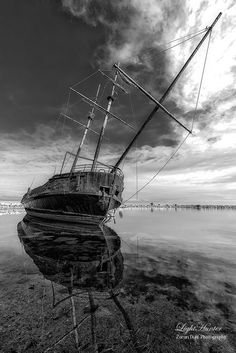 A rotten ship is not afraid of the storms ! by The LightHunter on Macabre Art, Beautiful Places In The World, Storms, Sailing Ships, Empty, Scenery, Boat, Explore, Black And White