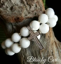 White Jade Beaded Stretch Bracelet Duo with Micro Pave Cross Charm *FREE SHIPPING* by BlissbyCori on Etsy
