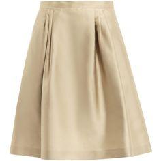 MaxMara Studio Braies skirt (1.530 ARS) ❤ liked on Polyvore featuring skirts, saias, юбки, bottoms, high rise skirts, high waisted knee length skirt, pleated a line skirt, brown high waisted skirt and knee length a line skirt