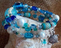 Shades of blue memory wire bracelet by MOstermannDesigns on Etsy