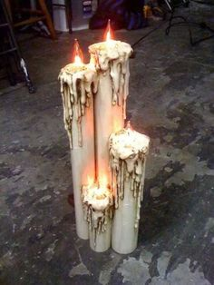 Candles paper towel/ toilet paper rolls hot glue and paint