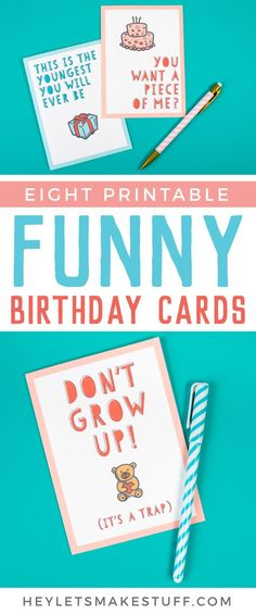 Give the gift of laughter and more with these Funny Printable Birthday Cards! You and the birthday guy or gal will appreciate the giggles. Funny Printable Birthday Cards, Cricut Birthday Cards, Cool Birthday Cards, Free Birthday Card, Birthday Cards For Boyfriend, Happy Birthday Funny, Best Birthday Gifts, Printable Cards, Funny Happy