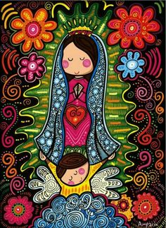 Our Lady of Guadalupe in folk art style.