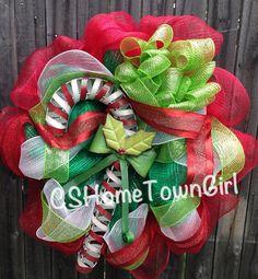 28 inch Candy Cane Mesh Wreath