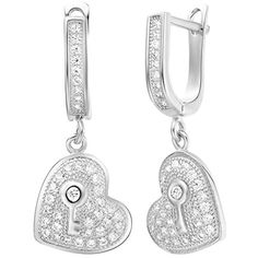YLR White Gold Plated Women Jewelry Luxurious Heart Carved Key Dangle Shiny Loop Drop Earrings -- Read more reviews of the product by visiting the link on the image. Note:It is Affiliate Link to Amazon.