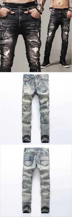 Hodisytian New Fashion Men Jeans Mid Denim Pants Slim Punk Biker Jeans Straight Distressed Ripped Long Male Trousers Plus Size