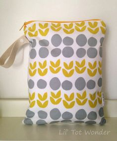 Large Wet Bag Yellow Tulips by LilTotWonder on Etsy, $18.00
