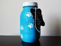 Mason jar treat jar https://www.etsy.com/listing/295237005/mason-jar-decor-pet-decor-treat