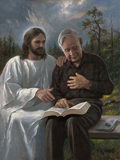 Touched By The Scriptures: Jon McNaughton. Read the holy Bible WITH Jesus every day. Pictures Of Christ, Religious Pictures, Jon Mcnaughton, Image Jesus, Lds Art, Saint Esprit, Jesus Christus, Jesus Art, Biblical Art