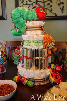 How to Make a Diaper Cake : 50 DIY Diaper Cake Tutorials The Very Hungry Caterpillar baby shower Fiesta Baby Shower, Baby Shower Fun, Baby Shower Themes, Baby Showers, Shower Ideas, Baby Shower Books, Baby Shower Gift Basket, Baby Shower Gifts For Boys, Girl Shower