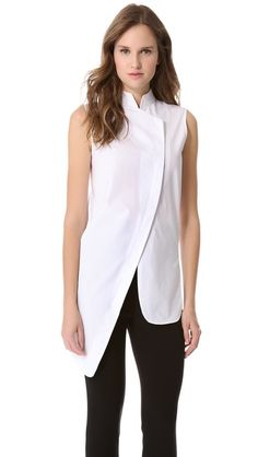 Asymmetrical Sleeveless Shirt - V9034 with high neck closure. #fallintofashion14, #mccallpatterncompany