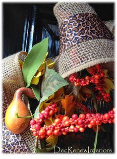 Leopard and burlap wreath.