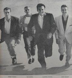 """Young male """"starlets"""" of the early 1950s: Robert Francis, Tab Hunter, Cameron MItchell, and John Ericson"""