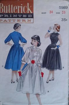 Vintage 50s Pintucked Pointed Tuxedo Collar Cuffed Sleeveless Shirtwaist Day Dress Sewing Pattern 5989 B34