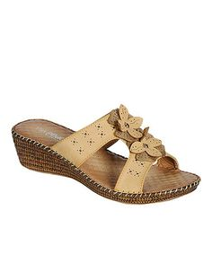 Another great find on #zulily! Camel Tilly Double Flower Sandal #zulilyfinds