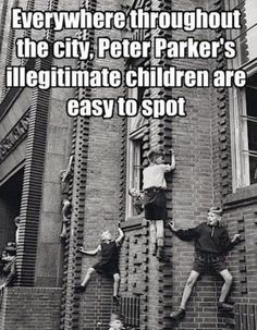 Everywhere throughout the city, Peter Parker's illegitimate children are easy to spot.