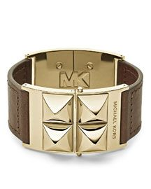 Michael Kors Michael Kors Pyramid-Stud Leather Cuff, Brown/Golden