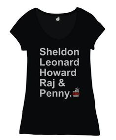 Camiseta chica The Big Bang Theory, nombres