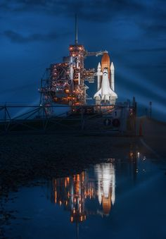 The Space Shuttle Atlantis the night before the last space shuttle launch ever.  photo Trey Ratcliff