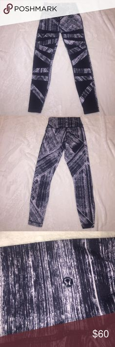 High times Lululemon leggings 7/8 high times limited edition black and white pattern with mesh on the front lululemon athletica Pants Leggings