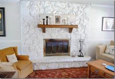 Painted lava rock fireplace.
