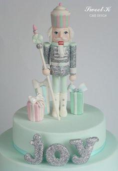 Lovely winter, holiday, nutcracker cake art.