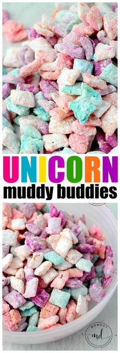 Unicorn Poop Muddy Buddies: Easy Chex Mix Muddy Buddy Recipe for a rainbow unicorn treat, fun, quick, easy!