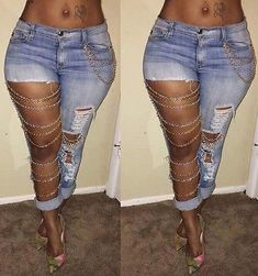 Light Blue Plain Hollow-out Pockets Chain Buttons Long Jeans.....these are sexy and original