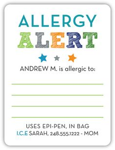 Personalized Blue Allergy Alert Stickers