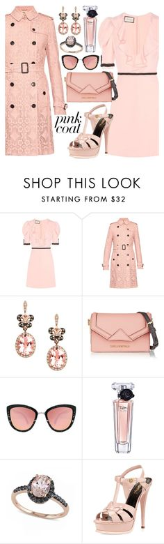 """""""Blush + Black"""" by alyssawui ❤ liked on Polyvore featuring Gucci, Burberry, Effy Jewelry, Karl Lagerfeld, Quay, Lancôme, Allurez and Yves Saint Laurent"""