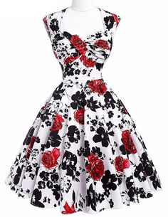 Vintage Rockabilly Elegant Floral Pin up Dress