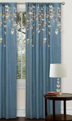Blue Flower Drop Curtain Panel