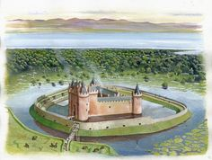 How Caerlaverock Castle might once have looked with inner and outer moats overlooking the Solway Firth.