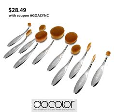 $28.49 with COUPON AGOACYNC, New launched Docolor Silver Cosmetic Oval Makeup Brush set - Buy it now: www.amazon.com/... #Beauty #tools #Cosmetic #fashion #makeup ideas #Brushetta #Fashion style ulta sephora artis #maekup tool