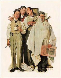 Norman-Rockwell-impresion-hombres-cantantes-Peluqueria-Cuarteto