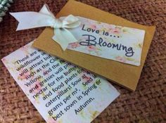 Love is blooming - vintage style wild flower seed wedding favor - personalised with your names and wedding date on Etsy, £50.00