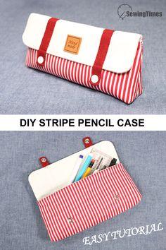 Pencil Case Pattern, Diy Pencil Case, Pencil Case Tutorial, Cute Pencil Pouches, Pencil Bags, Toilette Design, Diy Bags Patterns, School Accessories, Diy Couture