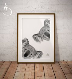 50 Ideas Drawing Animals Black And White Etsy For 2019 Koala Tattoo, Animals Black And White, Nursery Letters, Typography Art, Animal Drawings, Drawing Animals, Minimalist Art, Printable Wall Art, Illustrations