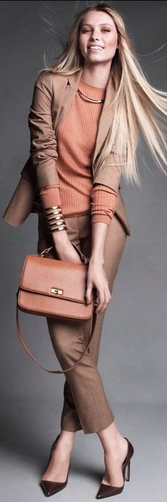 deep apricot jumper + bag with brown pants
