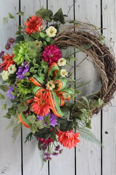 Front Door Wreath, Colorful Wreath, Country Door Wreath, Spring Wreath, Summer Wreath, Ferns, Designer bow, Free Shipping
