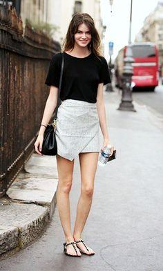 Look: Short saia + rasteirinha