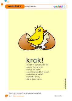 Confetti - thema Pasen - thema de kip en het ei - thema lente - taal - versje - krak!
