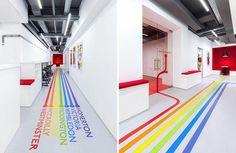 vẽ trên tường tên các phòng và nối vào từng phòng