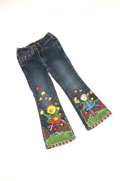 Fall celebration hand painted denim jeans by ocolorworld on Etsy,
