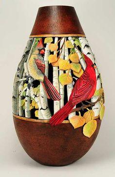 Carving Gourds with a Dremel Decorative Gourds, Hand Painted Gourds, Gourds Birdhouse, Cardboard Art, Gourd Art, Paper Clay, Dremel, Beautiful Artwork, Art Pieces