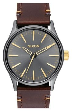 Nixon 'The Sentry' Leather Strap Watch, 38mm available at #Nordstrom