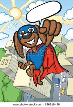 Vector illustration of cheerful cartoon super dog flying over city. Easy-edit layered vector